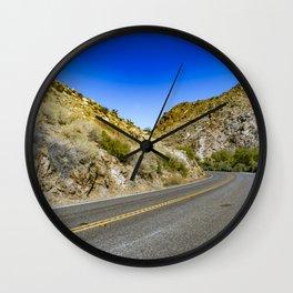 Highway Road Cutting through the Mountains in the Anza Borrego Desert, California, USA Wall Clock
