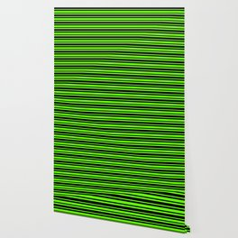 Bright Green and Black Horizontal Var Size Stripes Wallpaper