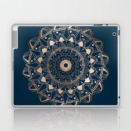 Delicate rose mandala on dark blue Laptop & iPad Skin