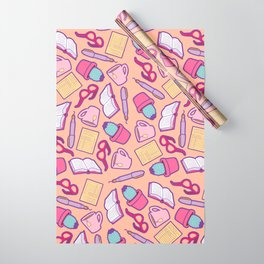 Book Club Pattern in Peach Wrapping Paper