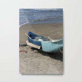 Blue Fishing Boat on the Beach Metal Print