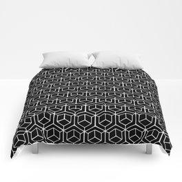 Hand Drawn Hypercube Black Comforters