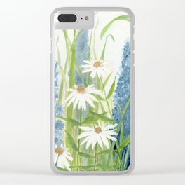 Watercolor Botanical Garden Flower Wildflower Blue Flower Garden Clear iPhone Case