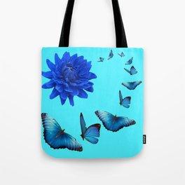 BLUE DAHLIA FLOWER & BLUE BUTTERFLIES ALLURE Tote Bag