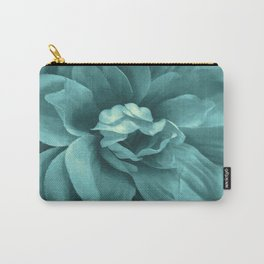 Soft Teal Flower Carry-All Pouch