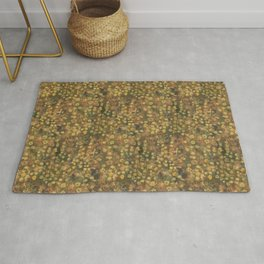 Golden Meadow, Abstract Floral Pattern,  Fiber Texture, Felted Wool  Rug