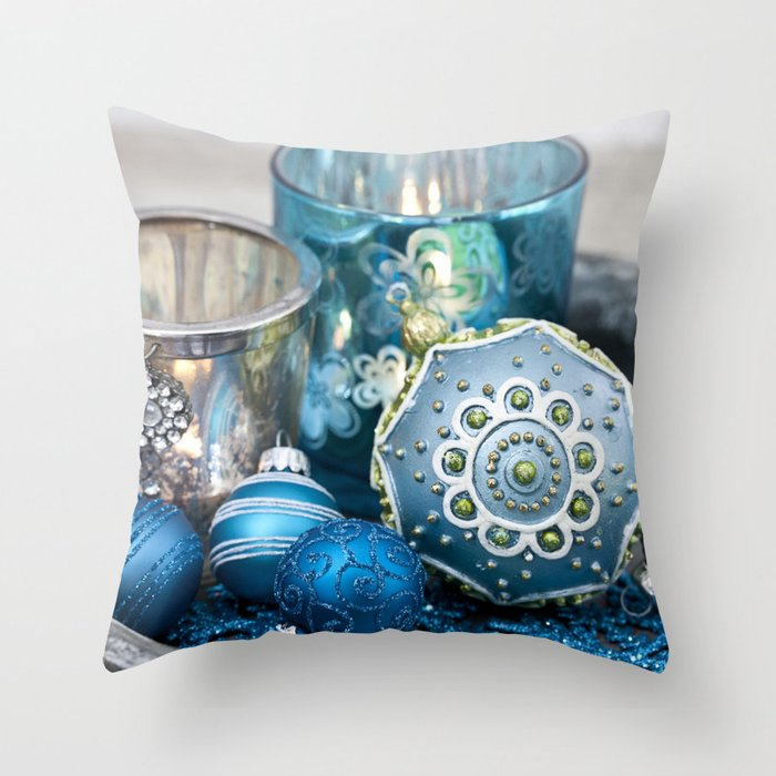 Blue  festive Christmas decoration Throw Pillow