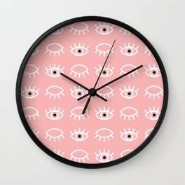 Eyes Wide Open Pink Wall Clock