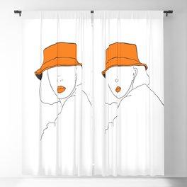 Female with Orange Hat Line Art Portrait Blackout Curtain