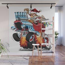 Hot Rod Santa Wall Mural