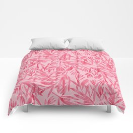 Abstract Pink Leaves Comforters