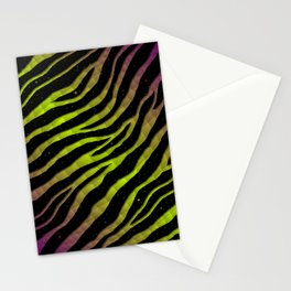 Ripped SpaceTime Stripes - Purple/Lime Stationery Cards