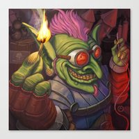 warcraft Canvas Prints featuring The Firework Maker Goblin by foreest