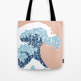 Kanji Calligraphy Art :Hokusai great wave Tote Bag