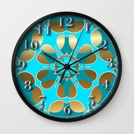 Lite Blue Snowflake on Gold Wall Clock