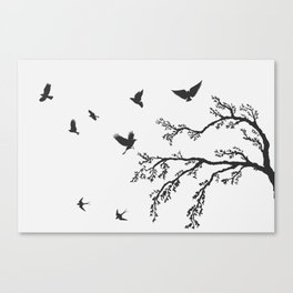 flock of flying birds on tree branch Canvas Print
