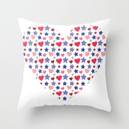Heart from many little hearts and stars Throw Pillow