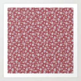 Christmas Rose Velvet Snow Flakes Art Print