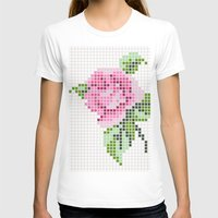 shabby chic T-shirts featuring Shabby Chic Pink Rose by Alisa Galitsyna