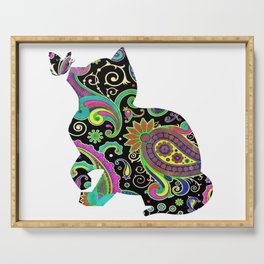 Paisley cat and butterfly Serving Tray