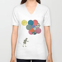 party V-neck T-shirts featuring Party Girl by Cassia Beck