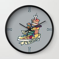 oslo Wall Clocks featuring Oslo B-ball Squadron by Fightstacy
