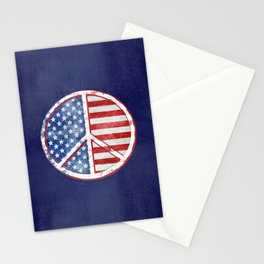 Watercolor Patriot Peace Symbol Stars and Stripes USA Flag Stationery Cards