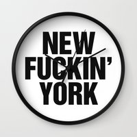 tupac Wall Clocks featuring New Fuckin York by Text Guy