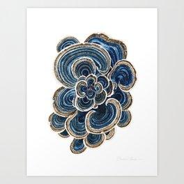 Blue Trametes Mushroom Art Print