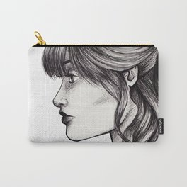 Woman Profile Pen Sketch Carry-All Pouch