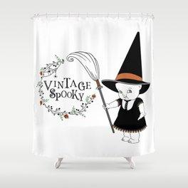 Vintage Spooky Kewpie Witch Shower Curtain