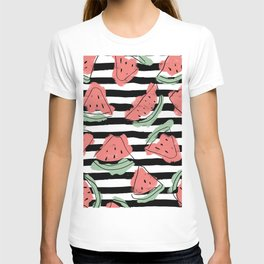 Geometric Artsy Watercolor Coral Mint Black Watermelon T-shirt