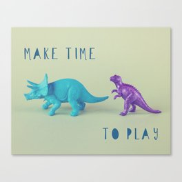 Make Time to Play - Blue and Purple Dino on Green Canvas Print