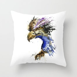 Golden Eagle - Colorful Watercolor Painting Throw Pillow