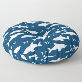 Shark pattern navy and white minimal modern basic nursery triangles chevrons nursery Floor Pillow