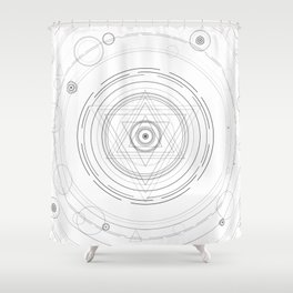 Black and white sacred geometry circle Shower Curtain