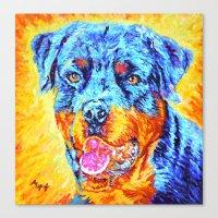 rottweiler Canvas Prints featuring Rottweiler by LiliyaChernaya