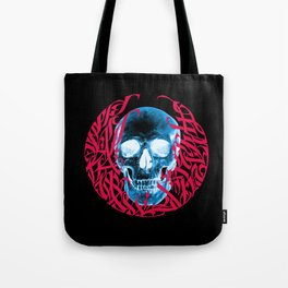 Gothic Calligraphy on Skull saying Always Hungry Tote Bag