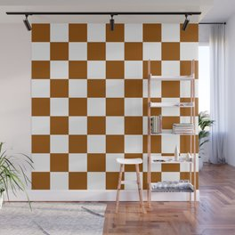 Checker (Brown/White) Wall Mural