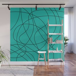 Lines Turquoise Wall Mural