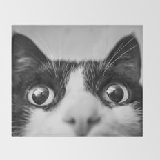 Funny Cat black and white Throw Blanket