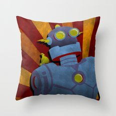 Retro Robot with Yellow Bird Throw Pillow