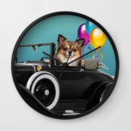 chihuahua Dog in Cabrio with balloons Wall Clock