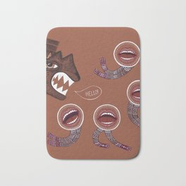 surreal hello with mouth people Bath Mat