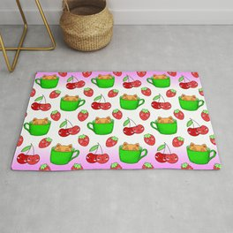 Cute happy funny Kawaii baby kittens sitting in little green espresso coffee cups, ripe red summer cherries and strawberries fruity colorful white and pink design. Rug