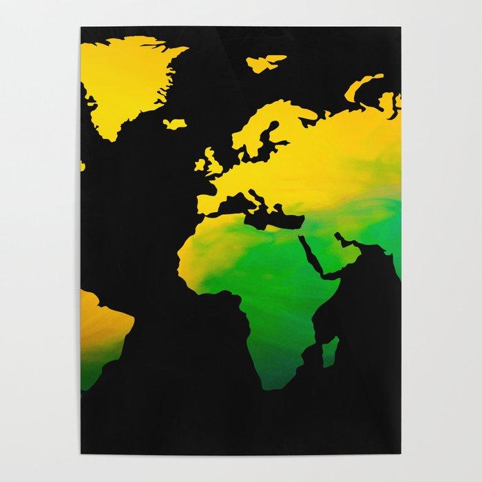 Yellow green World map Poster by jsebouvi | Society6