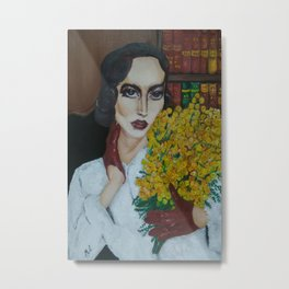 Portrait of The Retro Lady with Mimosa Metal Print