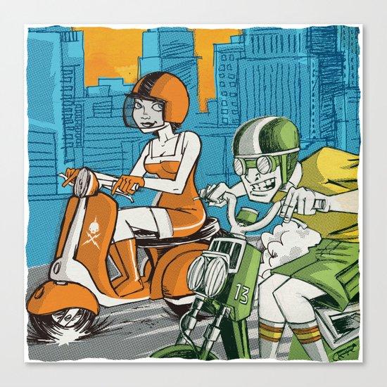 Scootin' Canvas Print