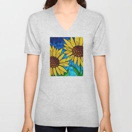 Garden Twins - Best friends...beautiful sunflowers by Labor of Love artist Sharon Cummings Unisex V-Neck