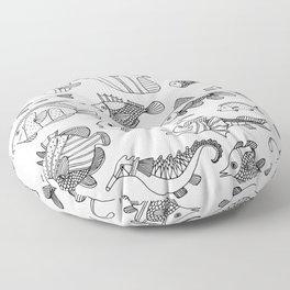 Arrangement of doodle fish Floor Pillow